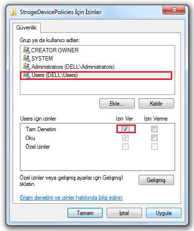 kayıt defteri düzenleyicisi izinler penceresi
